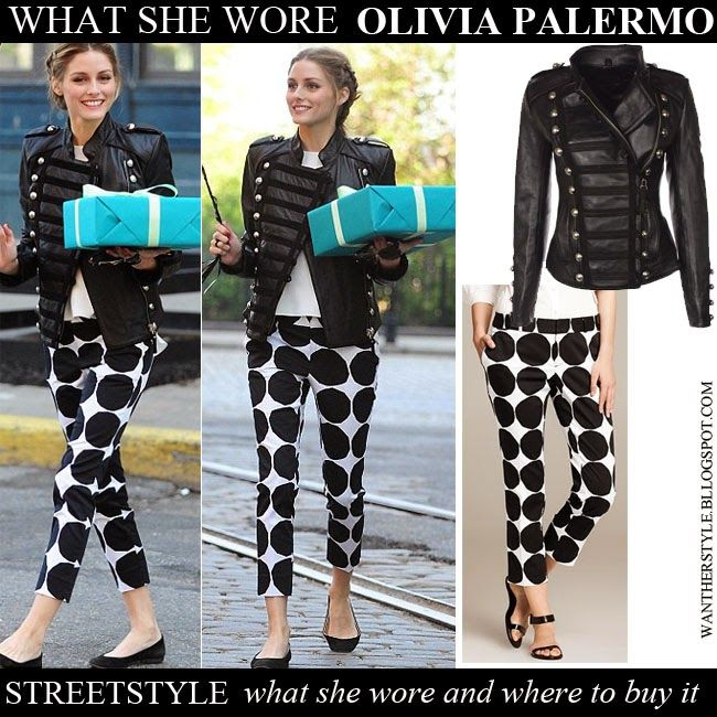 WHO: Olivia Palermo going to a birthday party on May 20 2014 in New York  WHAT SHE WORE: she wore black military style jacket by Boda Skins, dot circle print black and white pants from the Marimekko collection ( Banana Republic) and black ballet flats