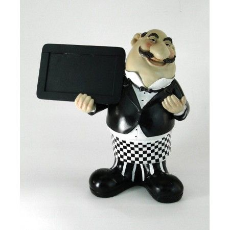 Chalkboard Sign Man Waiter Menu Board Butler Statue W Checked Pants Waiters Waitresses Butlers Chefs Pinterest Kitchen Restaurant And