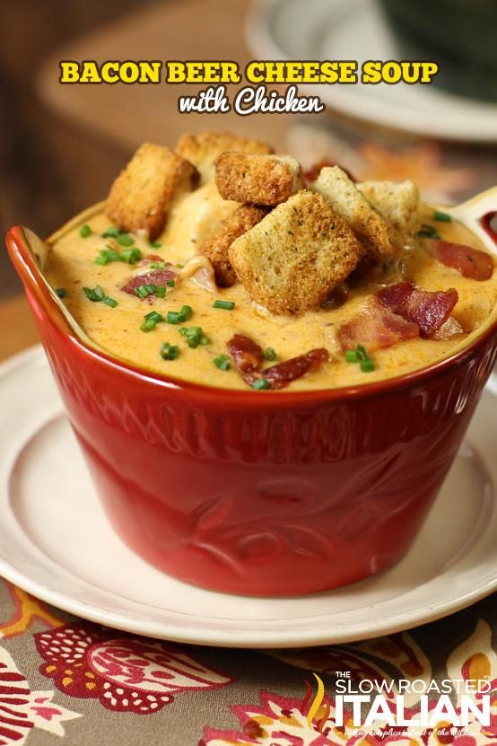 Bacon Beer Cheese Soup.  It is VERY SPICY if you use the suggested amount of spices.  So unless you handle wicked hot, sweaty forehead spicy, you may want to cut it back a little.  A really easy, delicious soup.