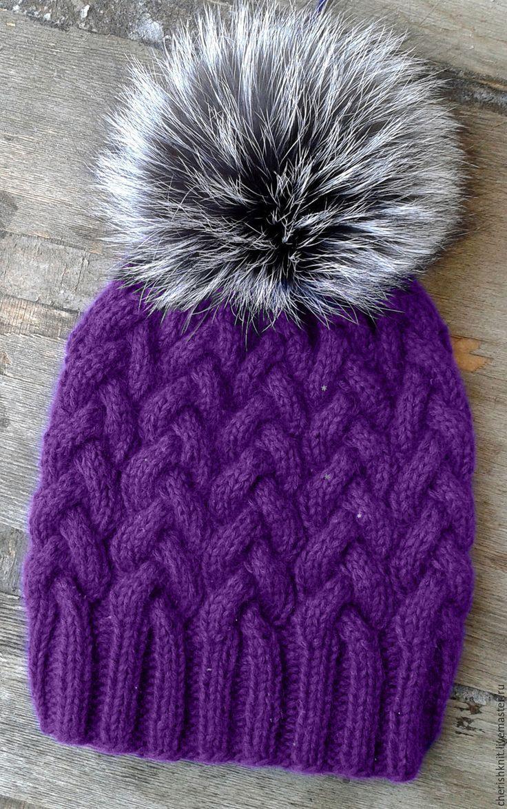 Купить Шапка вязаная фиолетовая косы с помпоном чернобурка - тёмно-фиолетовый, орнамент, шапка вязаная