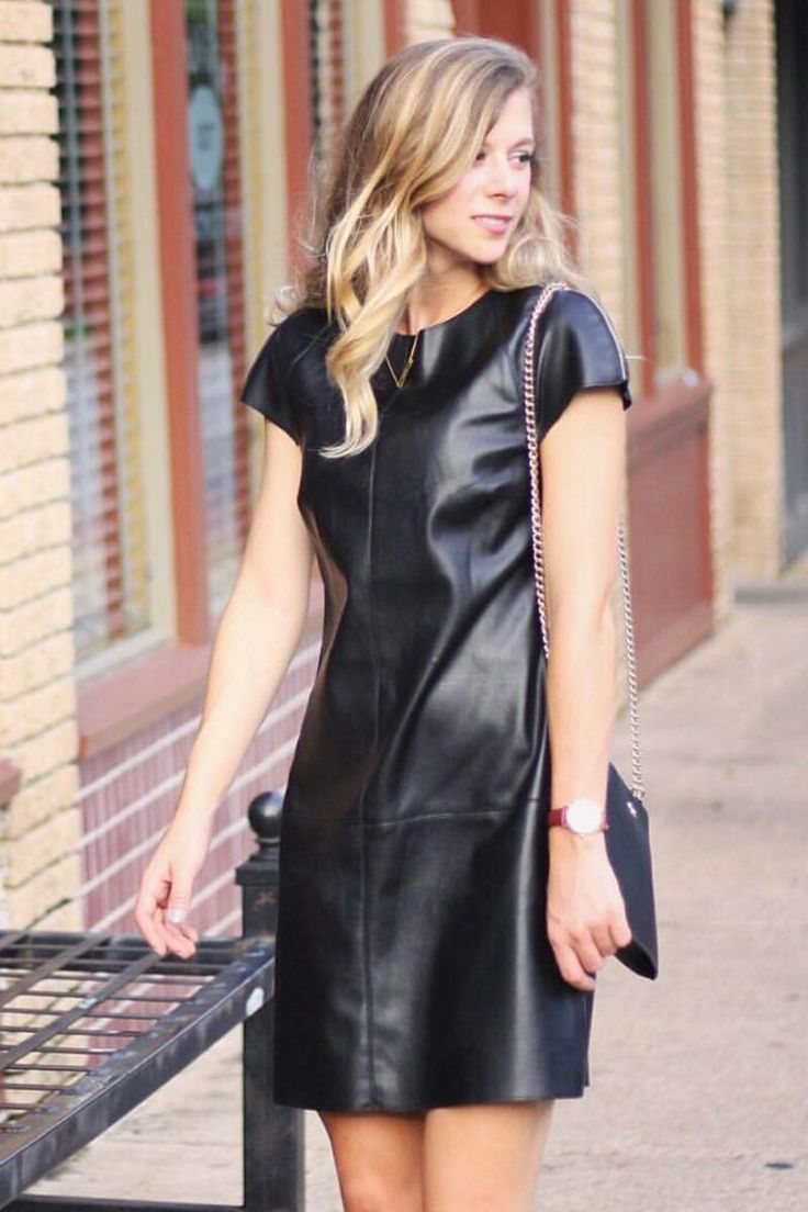 Blonde in black leather dress gorgeous
