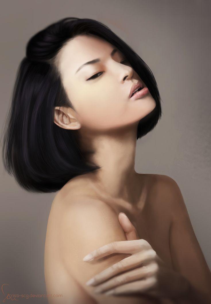 Asian girl, digital portret.