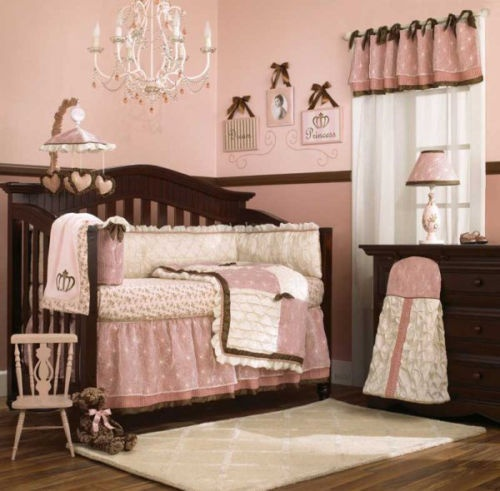 New cocalo daniella baby girl 39 s pink and brown crib for Brown and pink bedroom ideas for a girl