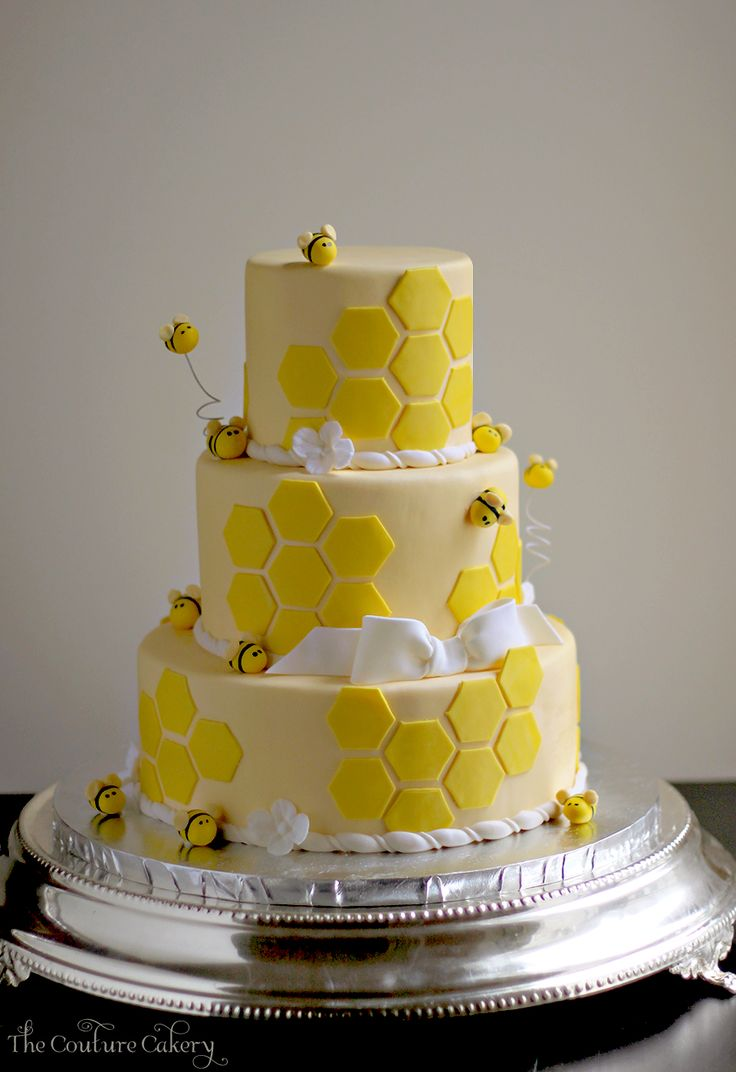 Bee Shower Cake by The Couture Cakery www.couturecakery.net