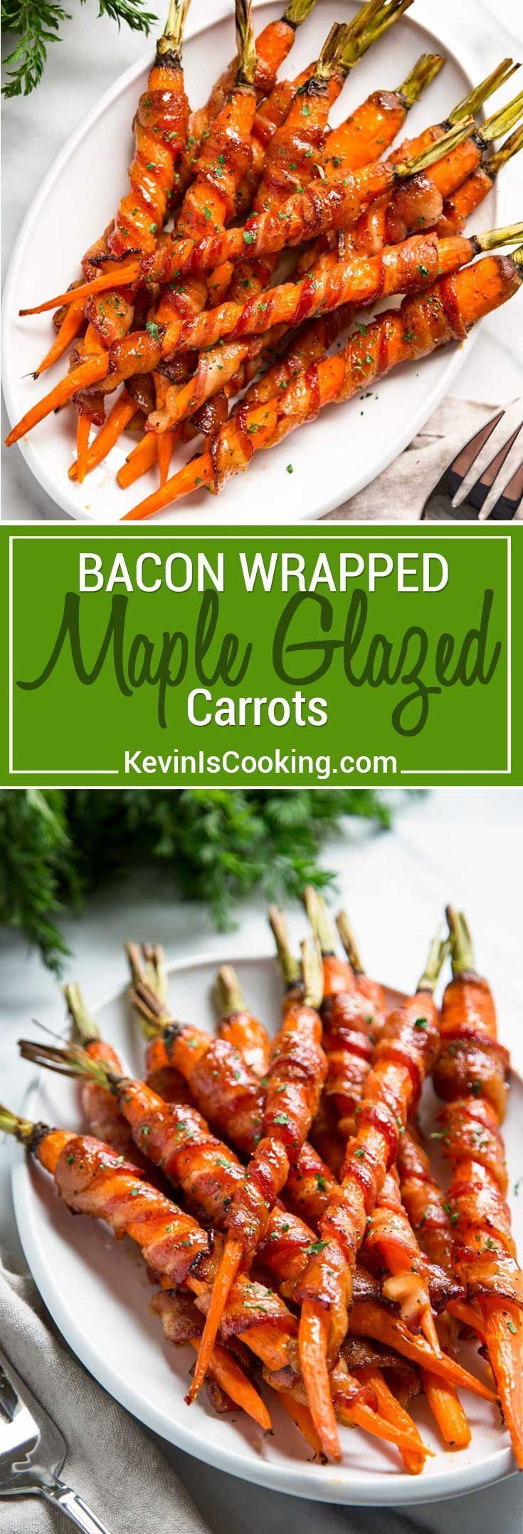 These Bacon Wrapped Carrots get sprinkled with black pepper and roasted, then basted with a maple Sriracha sauce until crispy. So easy and good! via @keviniscooking #carrots #bacon