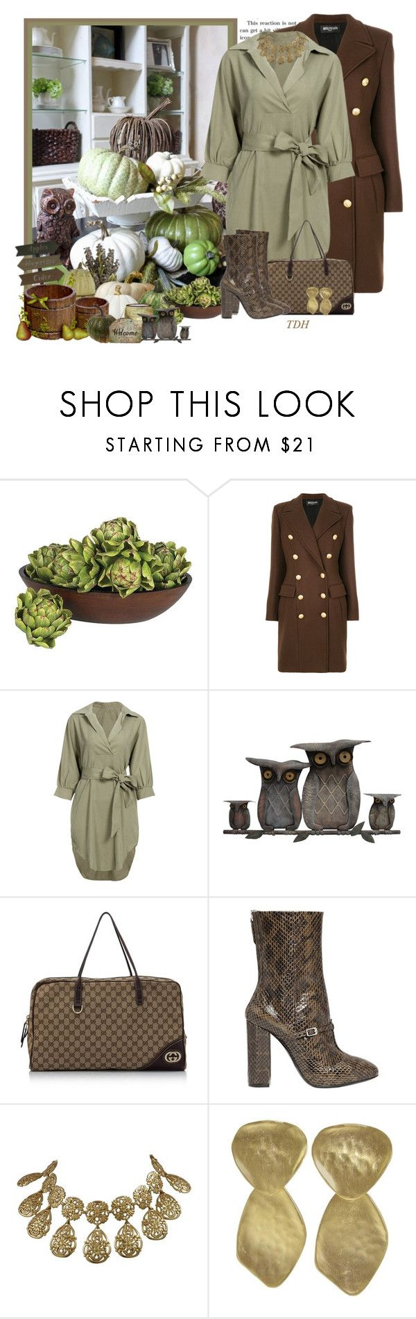 """Balmain Coat"" by talvadh ❤ liked on Polyvore featuring Once Upon a Time, Nearly Natural, Balmain, WALL, Gucci, N°21, Kenneth Jay Lane, Boots, shirtdress and balmain"