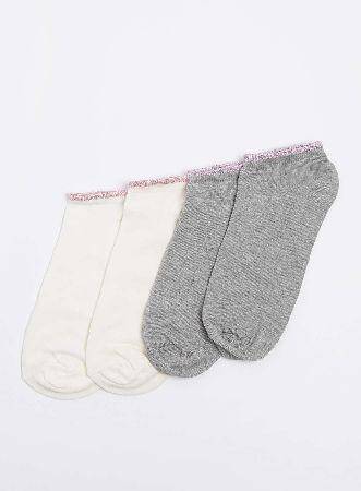 Dorothy Perkins Womens 2 Pack Glitter Trianer Socks- Grey Grey and cream trainer socks with glitter contrasting welts 61% Cotton,20% Polyamide,16% Polyester,2% Elastane,1% Metallised fibre. Machine washable. http://www.MightGet.com/january-2017-13/dorothy-perkins-womens-2-pack-glitter-trianer-socks-grey.asp