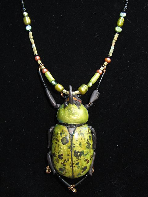 Hercules Beetle necklace © 2012 Karen A Johnson