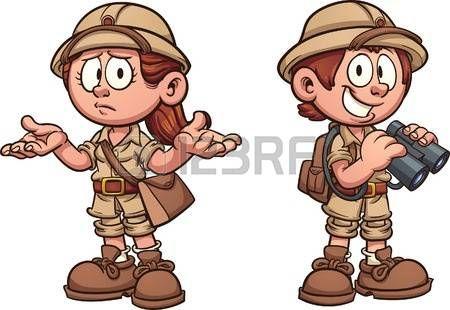 niños Explorer en trajes de safari. Vector de arte de la ilustración de dibujos animados con gradientes simples. Cada uno en una capa separada. Foto de archivo - 59923772