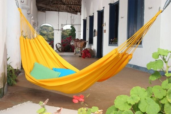 Hammock designs house interior courtyard quiet place Indulge yellow substance