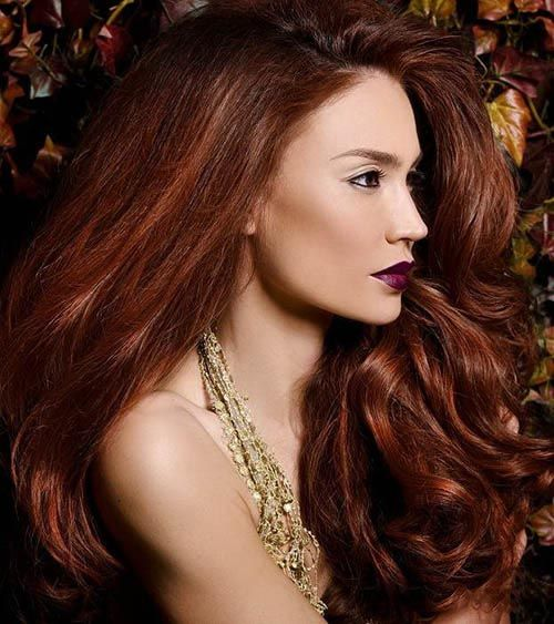 Hairstyle with french light auburn highlights. She looks like a mermaid. I like that.