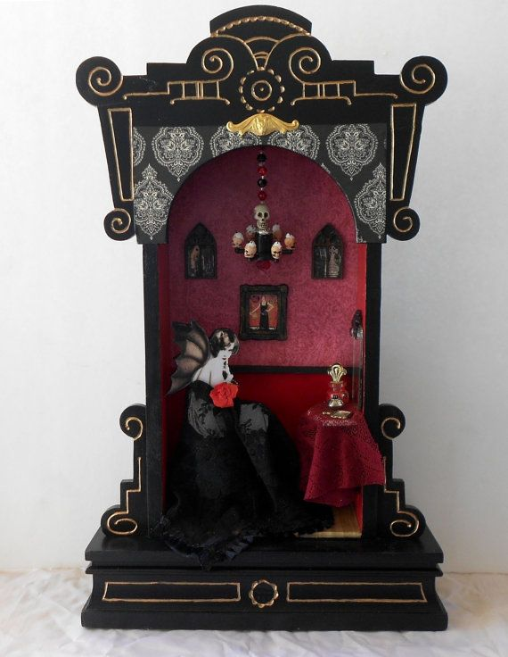 Clock Case shadow box - Vampire Flapper's Boudoir by Nacreous Alchemy