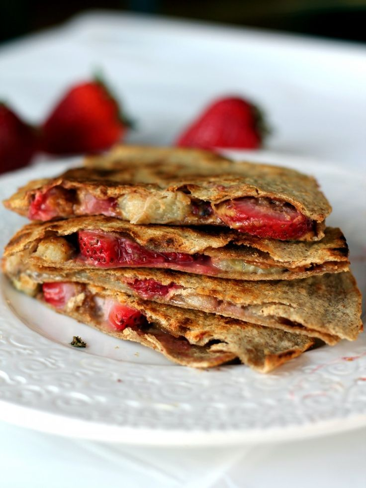 Strawberry, Peanut Butter, Banana Quesadillas.  Use whole wheat tortillas. Healthy,  delicious idea for the kids (or you!)