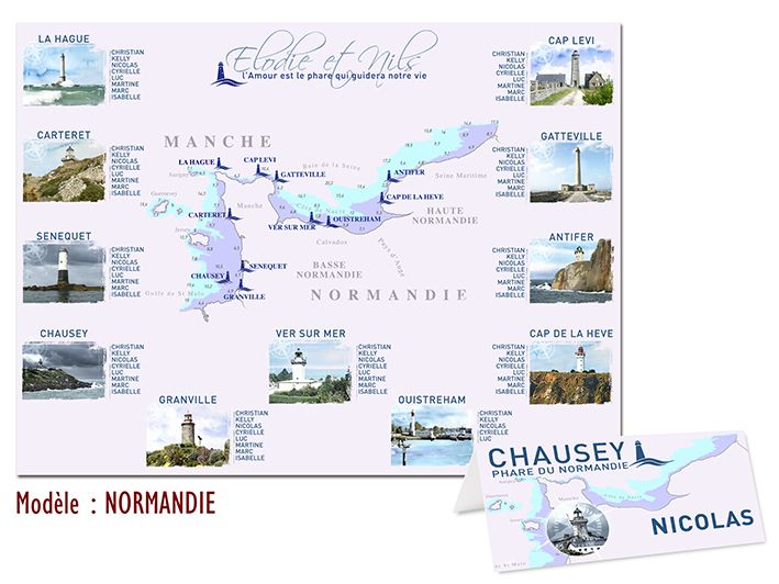 Plan de table mariage th me voyage normandie for Plan de table savoir vivre