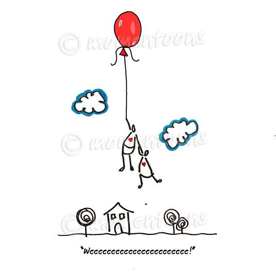Red Balloon Illustration, Flying Balloon Print, Funny Cartoon, Hand Drawn Caricature, Funny Poster, Surrealism Drawing, Funny Printed Decor