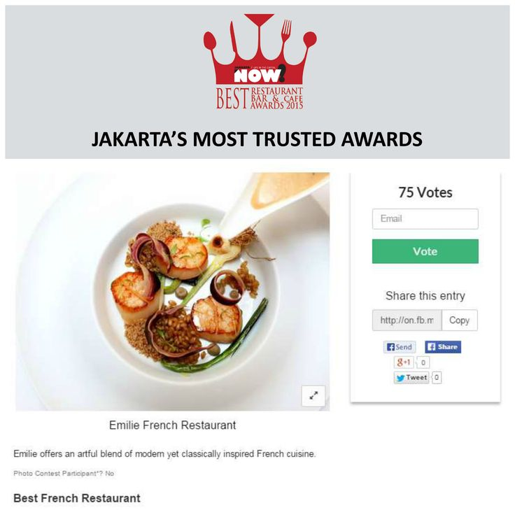 Give your vote for Emilie French restaurant and Bar for The Best French Restaurant on #BRBCA2015! #Jakarta #NOWJakarta #LifeinTheCapital #BRBCA #Best #French #Restaurant #Award #Event #JKTEvent #Emilie #EmilieRestaurant #EmilieJakarta #EmilieJKT #Brunch #Lunch #Diner #Dine #Hangout #Dining #Category