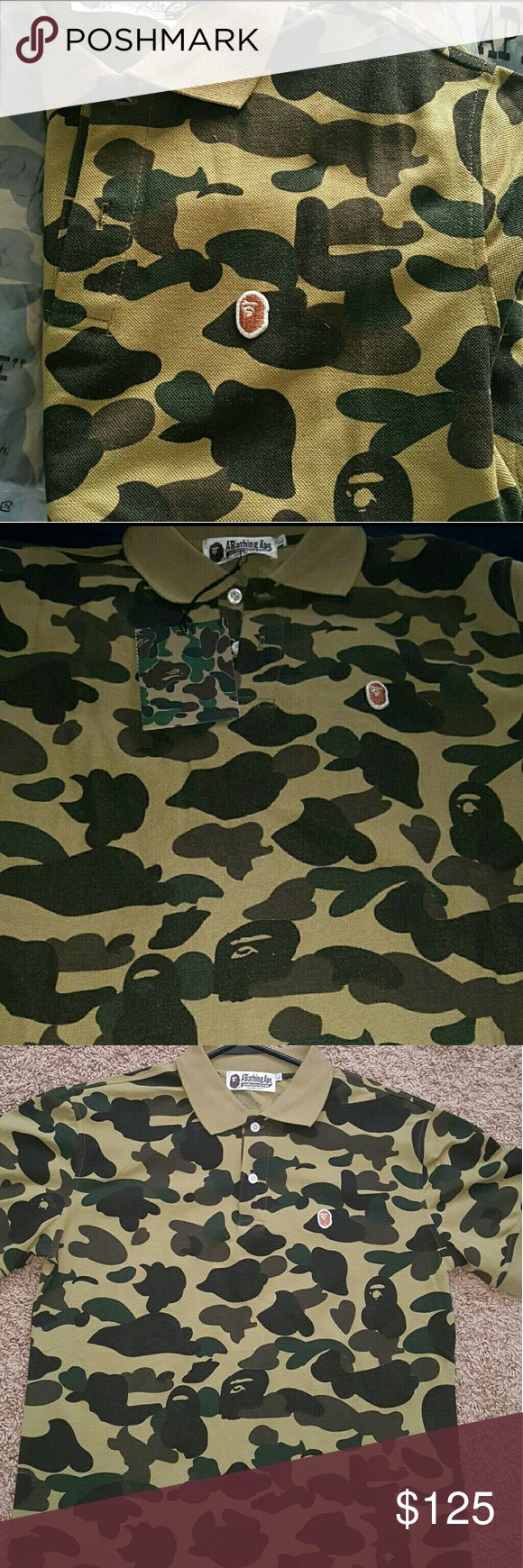 Authentic Bape Camo Collar Shirt  ( Large) Authentic Bape Camo Collar Shirt  Size Large Never Worn! Comes With Original Bag & Tags  $120 FIRM #NoTrades DONT HMU UNLESS YOU READY 2 BUY TODAY!  #SeriousInquiryOnly #NeedGoneAsap bape Shirts Polos