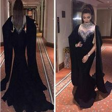 Dubai Kaftan Frisado Halter Longos Vestidos de Noite Preto 2017 Chiffon Da Sereia Vestidos Plus Size Abaya Kaftan Marroquino Vestido Feito Sob Encomenda(China (Mainland))
