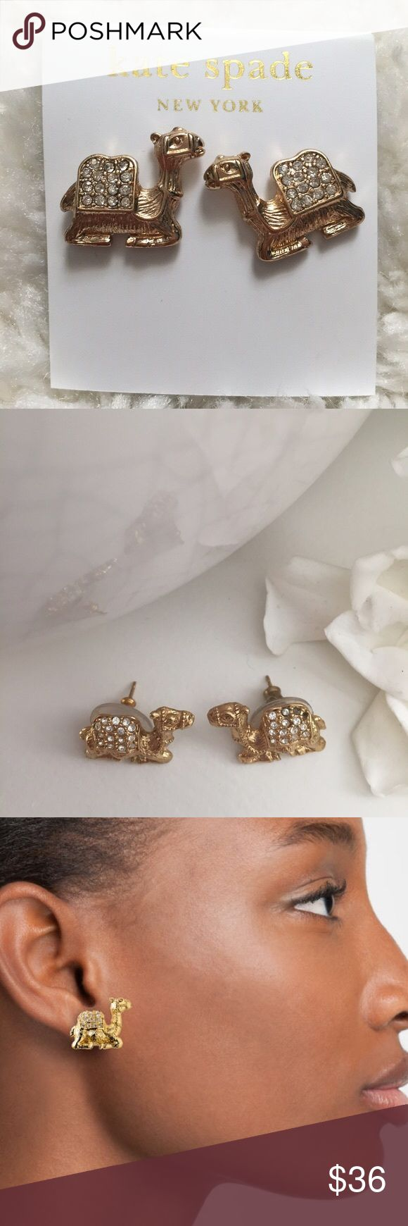 Kate Spade 'Wild One' camel 🐫 🐫earrings Guys. They're camels. You need these on your head. kate spade Jewelry Earrings