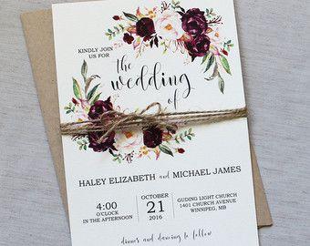 Invitaciones de la ducha nupcial rústico Floral por LoveofCreating