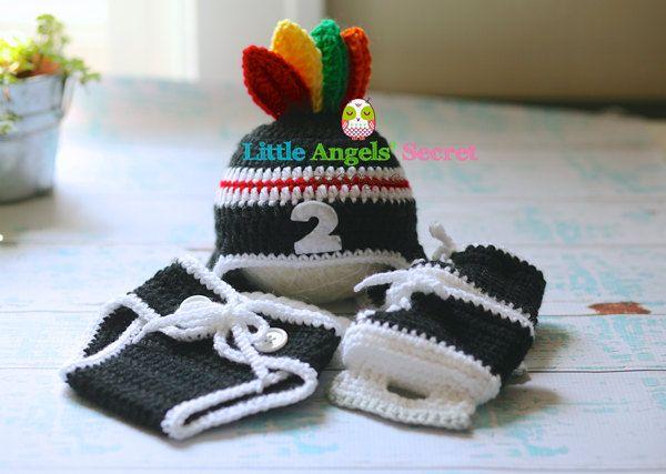 Chicago Blackhawks crochet set Chicago hockey crochet set photo prop boy sets Chicago feathers accessories Crochet set.