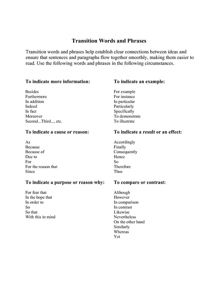 transition words and phrases for thesis Paragraph transition words transition words and phrases may appear anywhere in an essay but their most important value comes as paragraph transition one thesis.