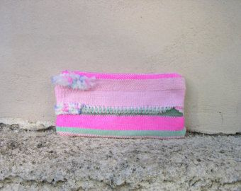 new handwoven clutch #pink #mintgreen pom poms