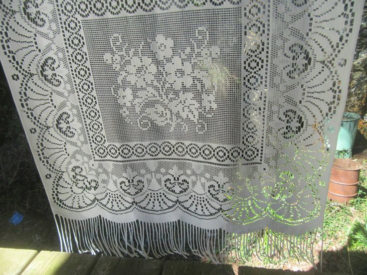 Single Lace Curtain Panel French Vintage Cream Fringed Window Door by FromParisToProvence on Etsy