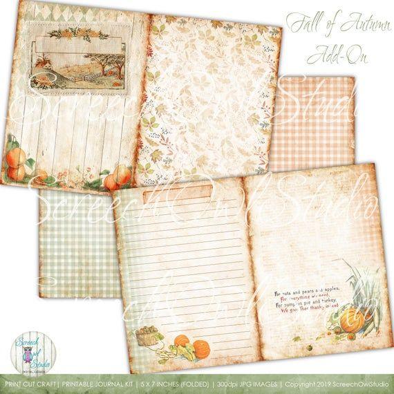 Autumn Junk Journal 5 0 X 7 0 Add On Journal Kit Vintage Ephemera Paper Craft Supplies Instant Paper Craft Supplies Collage Sheet Paper Crafts