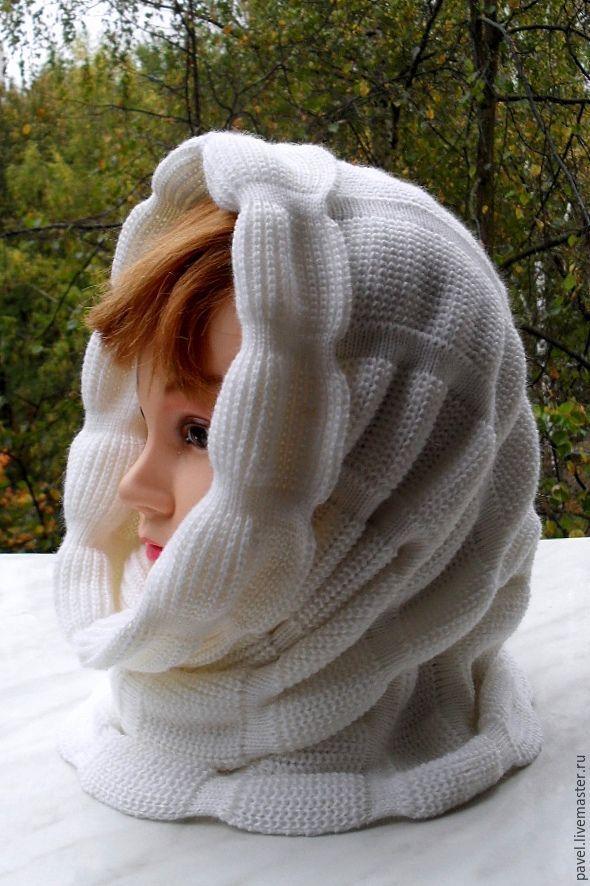 Купить Снуд вязаный, теплый) - белый, однотонный, снуд вязаный, снуд, снуд женский