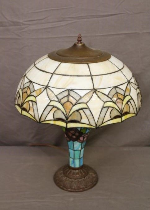 Pair Of Leaded Stained Glass Table Lamp Bases One Having Glass Shade With Hand Painted Currier And Ives Deco Metal Floor Lamps Table Lamp Base Glass Table Lamp