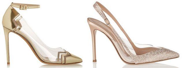 Pumps silber, gold & bronze - High heels mit Glitzer, roter Sohle & Riemchen