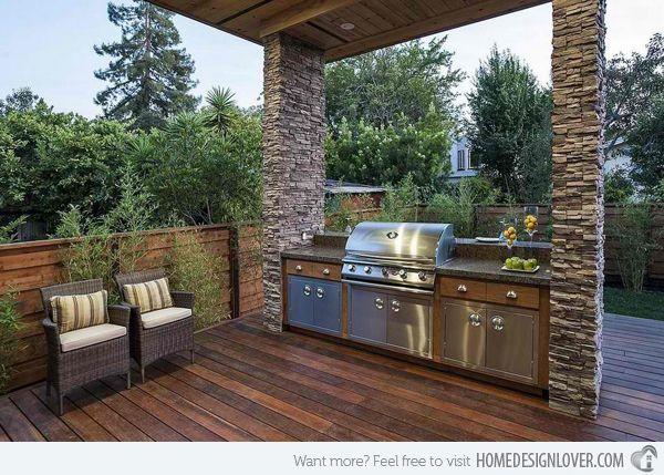 External bbq kitchen inspiration, with cabinetry built inbetween pillars - Found on homedesignlover.com