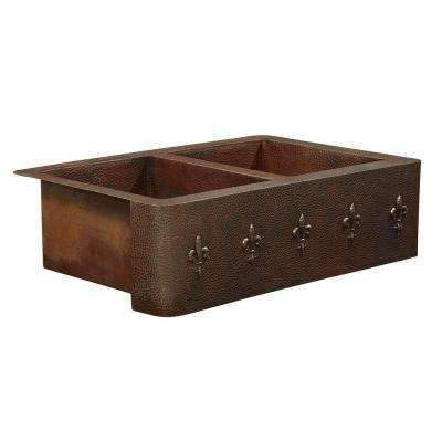 Bernini Farmhouse Apron Front Handmade Pure Solid Copper 22 in. Double Bowl 50/50 Kitchen Sink with Fleur de Lis