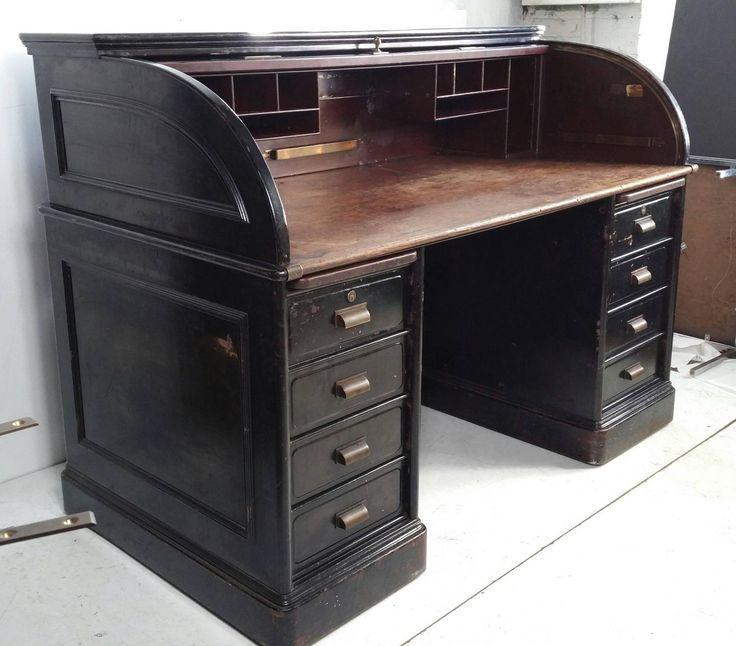 Antique industrial steel roll top desk quarter sawn oak for Industrial paint for metal
