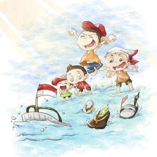 Nahkoda sandal siap berlayar menerjang batas #indonesia #children #happy #playing #river #slipper #ship #ninekyu #illustration