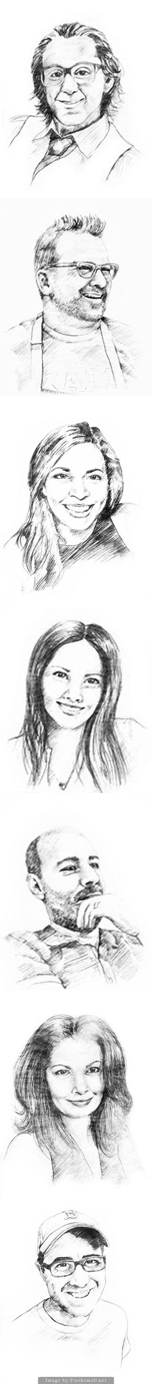 Pencil sketched portrait illustrations for restaurant website | Amelia Street Studio