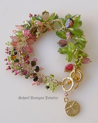 watermelon tourmaline earrings | watermelon tourmaline peridot bracelet beautiful slices of watermelon ...