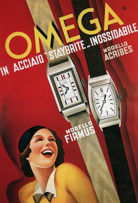 Omega fashion girl lady watch firmus acribes model fine vintage poster repro