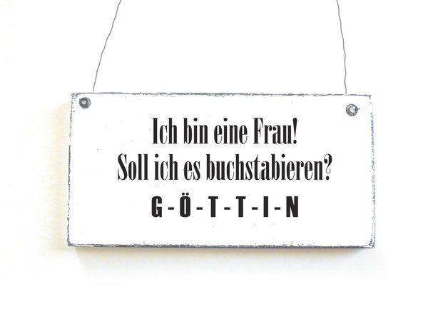 Buchstaben & Schriftzüge - Dekoschild GÖTTIN Holzschild Schild - ein Designerstück von DOERPKIND bei DaWanda