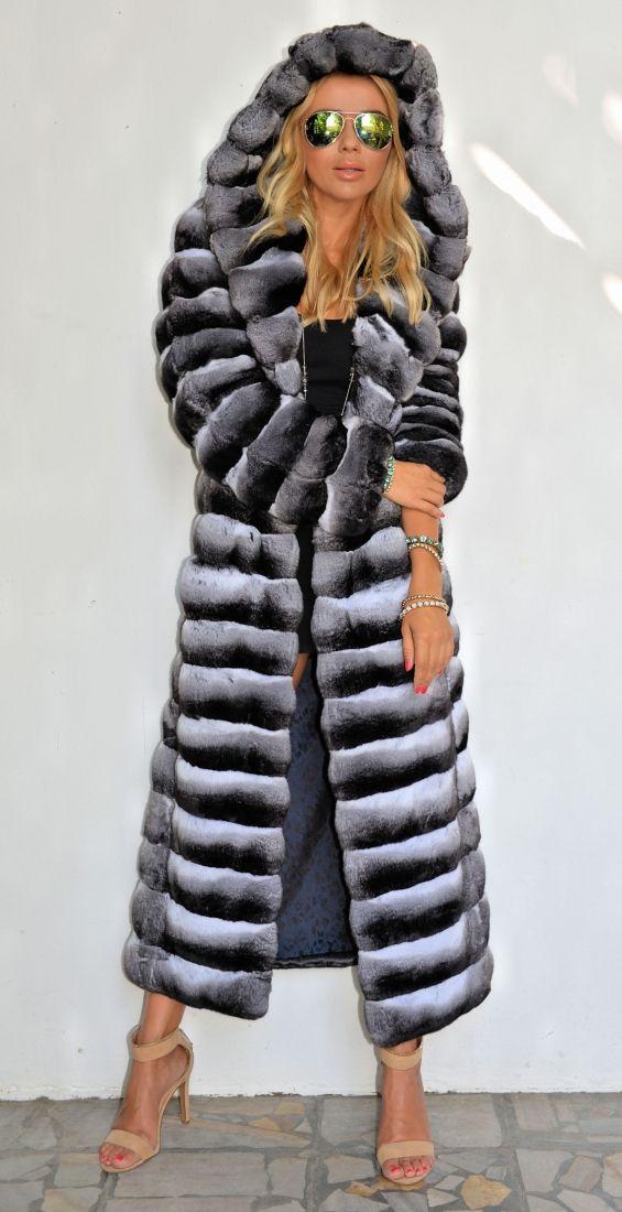 chinchilla furs  - exclusive chinchilla fur coat with hood