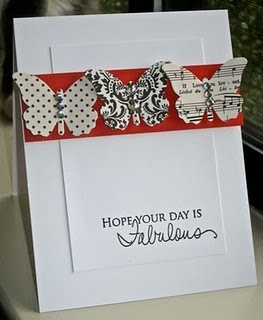 good colors, wonderful design, love the idea of layering 2 white cardstocks, could print on top one on computer, love the black & white flutterbys, simply wonderful card