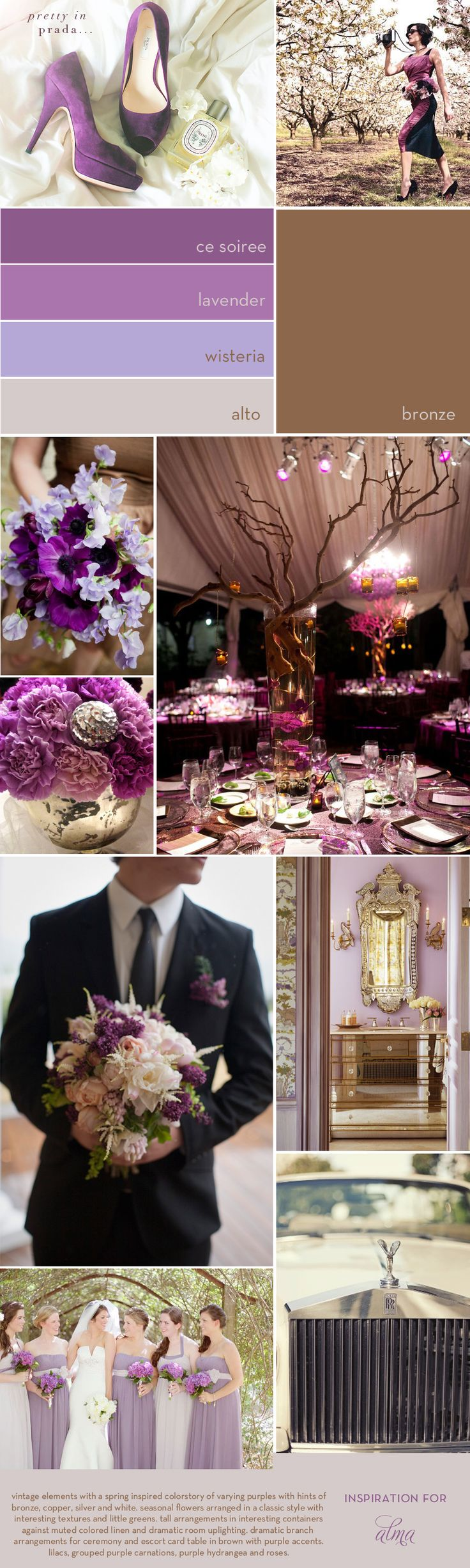 Inspired by Alma: Vintage Purple and Bronze Inspiration Board
