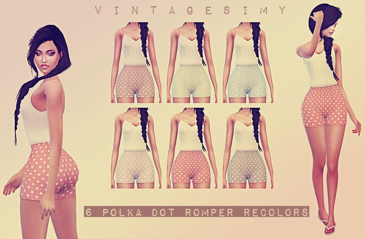 Polka Dot Romper RecolorsNew upload today of some… – Vintage Sims CC Shop♦⁴ | Sims 4 Updates -♦- Sims Finds & Sims Must Haves -♦- Free Sims Downloads