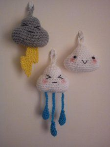 These Cute Little Clouds are the most adorable storm clouds ever. This free crochet amigurumi pattern includes directions on how to crochet not only a cloud, but also raindrops and lightning, as well. It's a great item to hang in a baby's nursery.