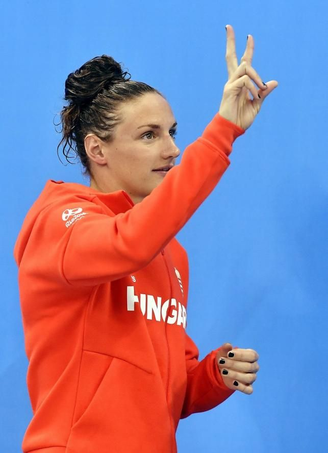 A győztes Hosszú Katinka a női 200 méteres vegyesúszás eredményhirdetésén a riói nyári olimpián. MTI Fotó: Illyés Tibor - PROAKTIVdirekt Életmód magazin és hírek - proaktivdirekt.com