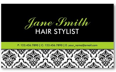 Elegant Professional Damask Floral Cosmetologist Business Card Template