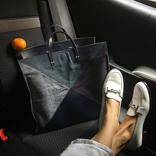 """#Regram @evachen212: """"White loafers to brighten up what started as an exceptionally dreary day!"""" #TodsDoubleT #EvaChenPose #TodsFavorites"""