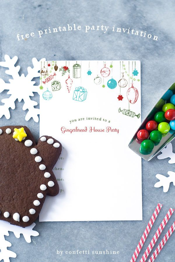 Free Printable: gingerbread house party invitation