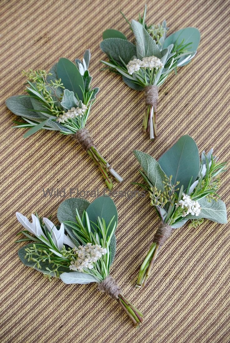 Herb buttonholes, twine, string, Rosemary, Sage, rustic wedding flowers.